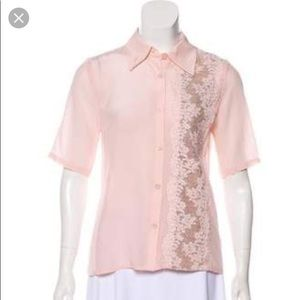 Tracy Reese 100% Silk Pink Lace Top
